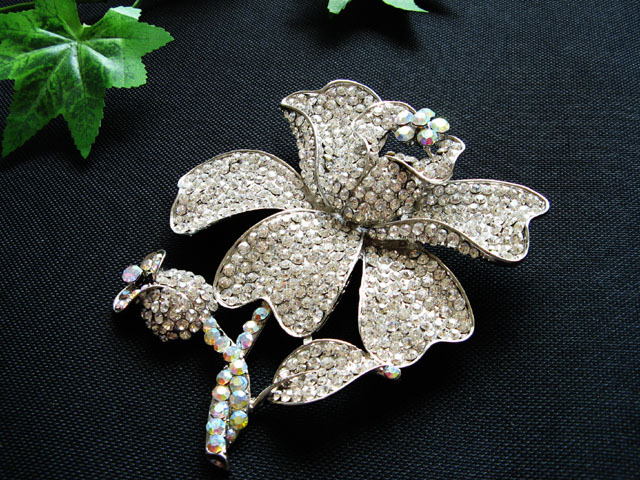 FLORAL CUTE ALLOY FACNY HANDMADE CRYSTAL COMB BROOCH VEIL ACCESSORIES ATTIRE n20