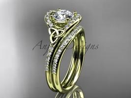 Moissanite celtic trinity knot , 14kt yellow diamond engagement ring CT7317S  - €1.985,60 EUR