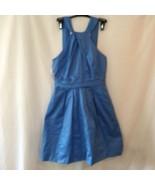 David's Bridal Short Bridesmaid Dress, Blue size 6 Cotton Sleeveless Fla... - $23.03