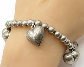 925 Sterling Silver - Vintage Beaded Filigree Love Heart Bracelet - B2760 - $52.05