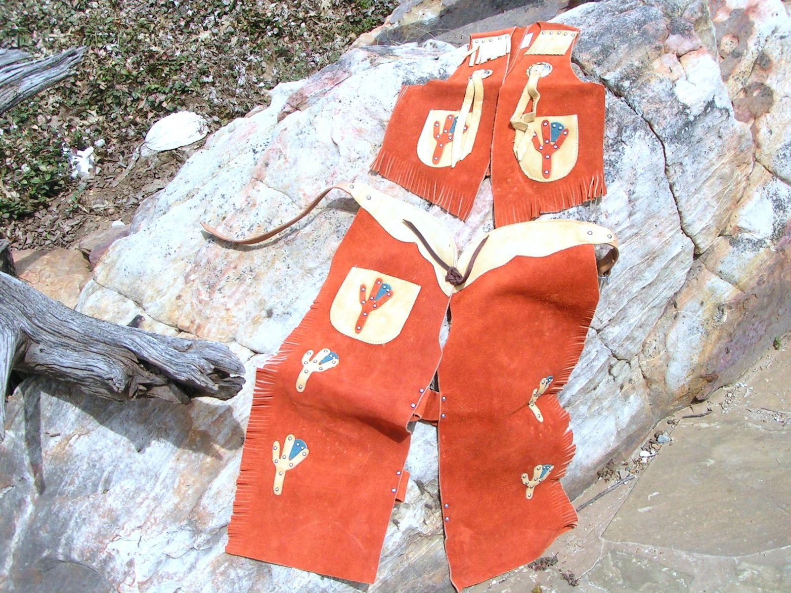 Leather kids chap vest sets 073