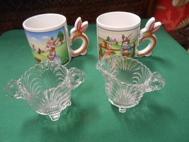 Great 4 Piece COLLECTION...2 Rabbit Mugs And Mini Sugar And Creamer - $6.64