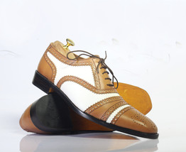 Handmade Brown & White Leather Heart Medallion Lace Up Dress/Formal Shoes image 1
