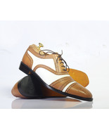 Handmade Brown & White Leather Heart Medallion Lace Up Dress/Formal Shoes - $134.99+