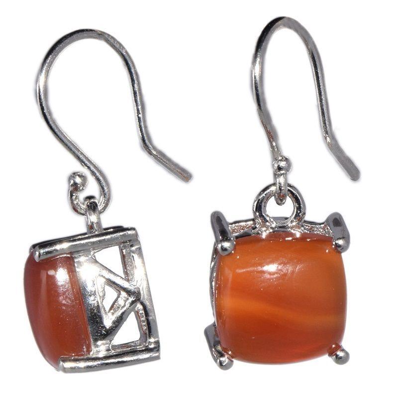 10X10MM Square Shape Carnelian Gemstone 925 Sterling Silver Earring SHER0121