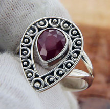 Solid Sterling Silver Ruby Teardrop Bali Ring » R315 - £53.22 GBP