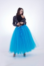 Women RAINBOW Maxi Skirt Drawstring Waist Mint Gray Maxi Tulle Skirt Petticoats image 7