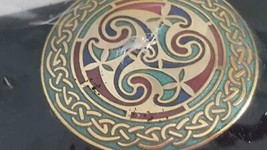 New Vintage Signed Celtic Dawn Brooch Pin, Symbols, Red, Blue Turquoise Inlay, - $8.90
