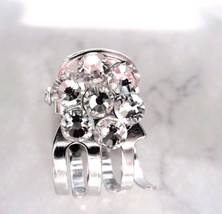 Tiny mini silver metal flower hair claw clip made with swarovski crystals - $6.26