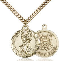14K Gold Filled St. Christopher Coast Guard Pendant 7/8 x 3/4 24 inch Chain - $139.40