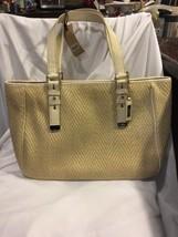 Cole Haan Kendra Herringbone Straw Soft Tote Bag Gold Leather Purse Shoulder - $120.94