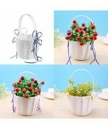 Flower Girl Basket Wedding Mariage Ceremony Decoration Satin Bag Love He... - $9.89+