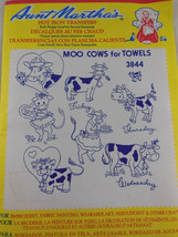 "NEW Aunt Martha's Hot Iron Transfers #3844 ""Moo Cows for Towels""  Days o... - $3.95"