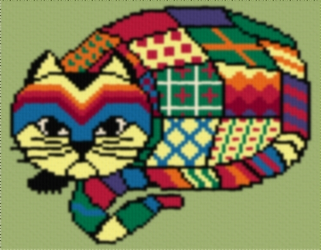 Latch Hook Rug Pattern Chart: CALICO CAT - EMAIL2u