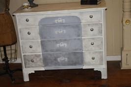 Antique Dresser Painted White Gray Black Floral Appliques Distressed Sha... - $600.00