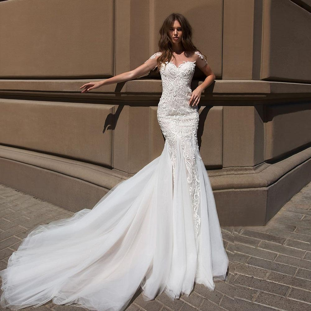 Ermaid wedding dresses boho vestido de novia sirena sexy open back short sleeve beading sequined