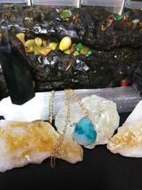 Necklace Natural Healing Stone Druzy Quartz  Aqua, Gold tone B  Women or... - $4.95