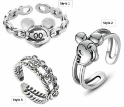 Girls Ladies Disney Parks Mickey Mouse Ears S925 Sterling Silver Adjustable Ring - $11.99
