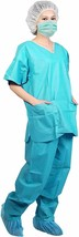 Uniform Suit Sets 5ct Teal SMS Shirts and Pants Anti-Static Small /w V-Neck - $29.78
