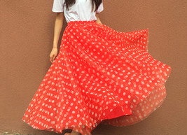 Polka Dot Tulle Midi Skirt High Waisted A-line Tulle Tutu Skirt Blue Dotted image 8