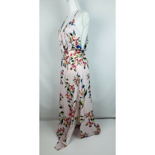 Lush Women's Solice Maxi Floral Print Long Dress Spaghetti Strap Pink Medium NEW