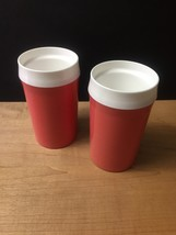 Vintage 60s set of 2 Coral NFC Insulated Tumblers image 6