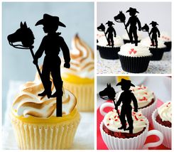 Wedding,Birthday Cupcake topper,silhouette little boy-girl cowboy Package 10 pcs - $10.00