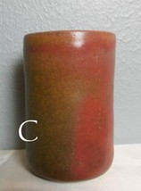 "Studio Pottery Glazed Tumbler 5"" Browns and Reds Signed  C - $18.00"