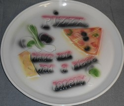 "1963 Marcia Of California 15 1/2"" Pizza Tray California Pottery Great Graphics! - $31.67"