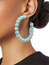Kenneth Jay Lane Blue Ball Gold tone Fabric Playful Large Hoop Earrings - $68.31