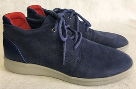 UGG Larken Stripe Perf 1014660 Marino Blue Athletic Leather Textile Dress Shoes - $79.99
