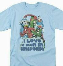 Justice League T-shirt Uniform DC comic book super friends hero blue tee DCO456 image 1