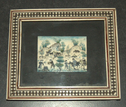 Lot 3 Antique Persian Handmade Miniature Painting on Bone Islamic Artwork Framed image 5