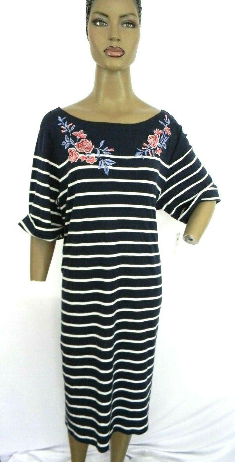 Karen Scott Plus Size 2X,3X Dress Floral Embroidered Striped Shift Dress NEW $54 image 8