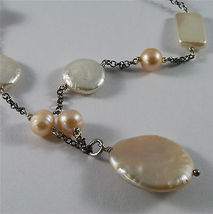 .925 SILVER RHODIUM NECKLACE 33,46 In, BAROQUE ROSE PEARL, ROUND & SPHERE SHAPE. image 5