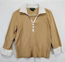 Ralph Lauren 3/4 Sleeve Women's Tan Polo Y Neck Size Medium  - $13.99