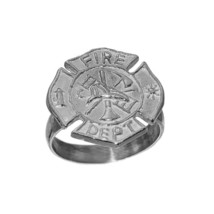 Sterling Silver 925 FireFighter Maltese protection cross Badge ring Jewe... - $30.54