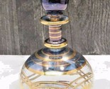 Vintage Venetian Glass Perfume Bottle Blue Hand Painted Gold Delicate Thin