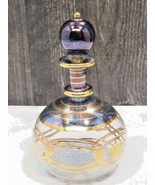 Vintage Venetian Glass Perfume Bottle Blue Hand Painted Gold Delicate Thin - ₹2,867.88 INR