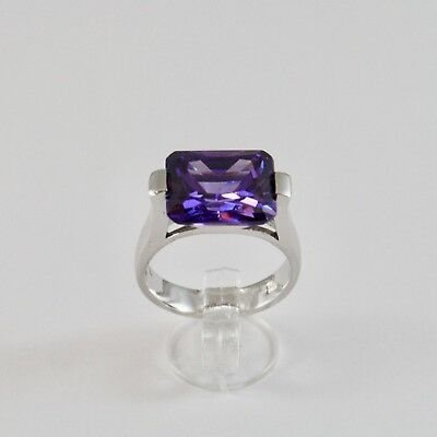 925 Silver Ring Rhodium with Crystal Purple Shaped Rectangular