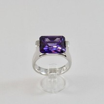 925 Silver Ring Rhodium with Crystal Purple Shaped Rectangular image 1