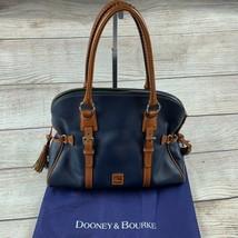 DOONEY & BOURKE Blue Tan Florentine Leather Bristol Satchel HandBag Purs... - $250.00