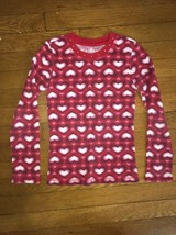 ! childrens place red heart waffle knit top shirt size medium 7 - 8 girls - $3.95