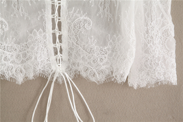 White Bridal Lace Top-Off Shoulder Crop Sleeve Fitted Lace Shirt-Plus Size,White image 4