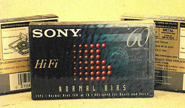 Sony Hi Fi 60 Min Type I Normal Bias Cassettes (3), NEW, Sealed - $3.75