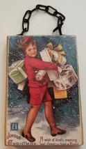 Christmas Ornament Ellen Clapsaddle Postcard Reproduction on Wood Chain ... - $6.92