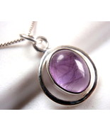 Amethyst Ellipse in Round Hoop Pendant 925 Sterling Silver Oval New - $14.09