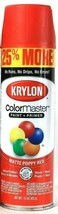 1 Cans Krylon 15 Oz ColorMaster 3475 Matte Poppy Red Paint & Primer Spray - $19.99