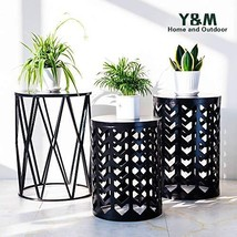 PAO MOTORING Home Garden Accents Wire Round Iron Metal Stool Side End Ta... - $115.19