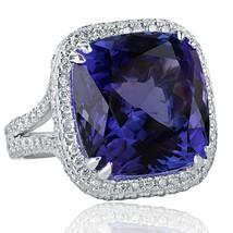 GIA 15.79 TCW Cushion Cut Tanzanite Diamond Engagement Ring 18k White Gold - $11,879.01